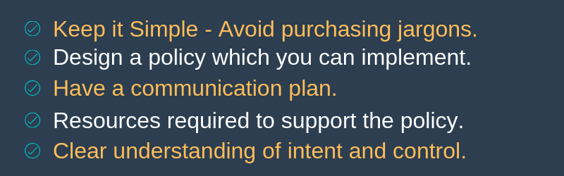 Considerations for purchasing policy