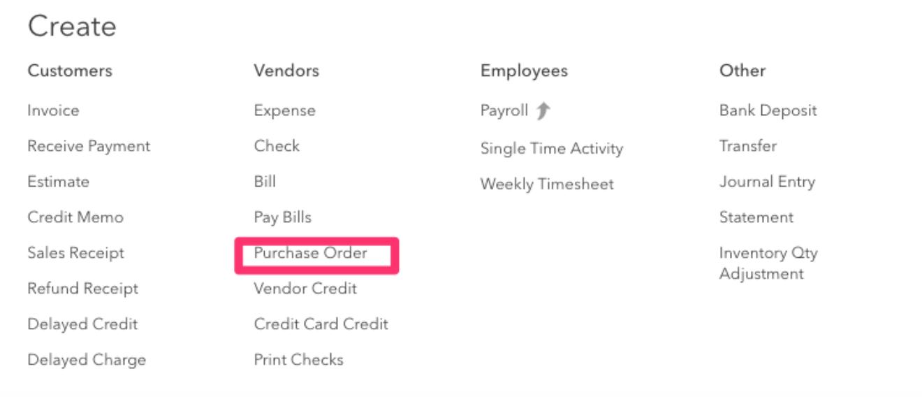 Create purchase order menu