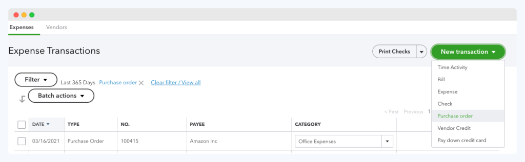 create_purchase_order_Quickbooks